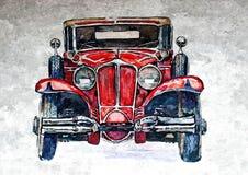Vieux rétro véhicule Aquarelle humide de peinture sur le papier Art naïf Aquarelle de dessin sur le papier illustration de vecteur