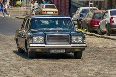 Vieux rétros participation de prise de VOLVO AMAZONE 121 de voiture à la course Lion Image libre de droits