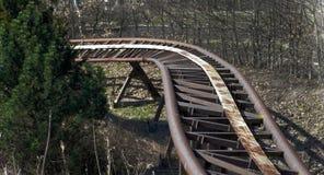 Vieux rails de montagnes russes Photo libre de droits