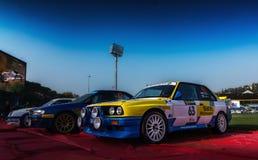 Vieux rassemblement de voiture de course de BMW M3 E30 1987 LA LÉGENDE 2017 le rac historique célèbre de San MERINO Images libres de droits