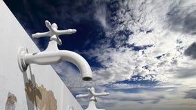 vieux robinet d'eau 3D extérieur Images stock