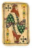 Vieux roi utilisé de carte de jeu de fond de papier croisé avec la ligne et les symboles photos stock
