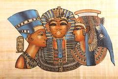 Vieux rois égyptiens et art de la Reine sur le papyrus images stock
