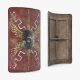 Vieux Roman Medieval Shield sur le blanc illustration 3D illustration libre de droits