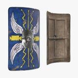 Vieux Roman Medieval Shield sur le blanc illustration 3D illustration stock