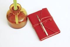 Vieux rouge de livre d'agenda Image stock