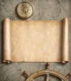Vieux rouleau de carte avec la boussole et le volant Concept d'aventure et de voyage illustration 3D Images stock