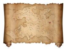 Vieux rouleau de carte de trésor de pirates d'isolement sur le blanc illustration libre de droits