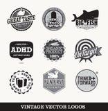 Vieux rétros logos  Image libre de droits