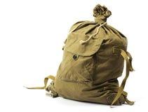 Vieux sac de molleton militaire Image libre de droits