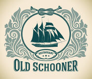 Vieux schooner - label de restaurant Photo stock