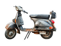Vieux scooter sur le fond blanc Image libre de droits