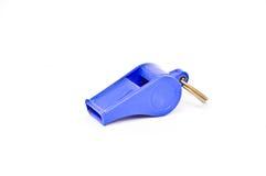 Vieux sifflement en plastique bleu Image stock