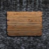 vieux signe 3D en bois contre un mur de briques grunge Photographie stock