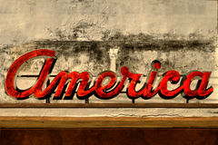 Vieux signe de l'Amérique Image stock