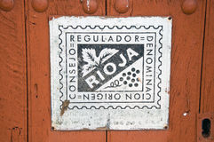 Vieux signe du vin de qualité dans Rioja, Espagne images libres de droits