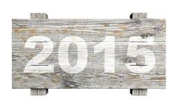 Vieux signe en bois avec 2015 Photos stock