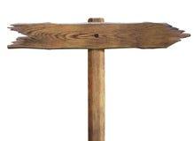 Vieux signe en bois de flèche de route de flèche d'isolement Photos stock