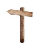 Vieux signe en bois de flèche de route de flèche gauche d'isolement Photographie stock libre de droits