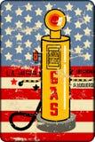 Vieux signe métal-gaz sale de station avec la pompe à gaz, rétro vect de style illustration libre de droits