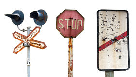Vieux signes ferroviaires diminués Image libre de droits