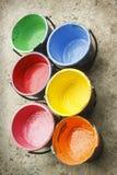 Vieux silkscreen contenant de couleur Photos stock
