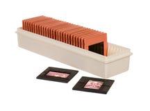 Vieux slidebox avec des glissières Photo stock