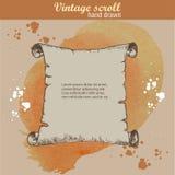 Vieux style de croquis de rouleau sur le fond d'aquarelle Photo stock