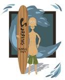 Vieux surfer illustration libre de droits