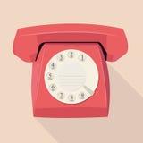 Vieux téléphone dans la conception plate Images libres de droits