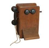 Vieux téléphone en bois Photo stock