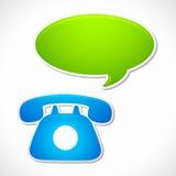 Vieux téléphone rotatoire avec la bulle de causerie Image libre de droits