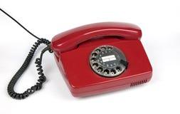 Vieux téléphone rouge photo stock