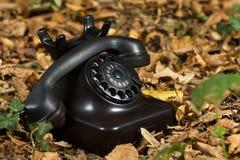 Vieux téléphone sur des lames d'automne Photographie stock