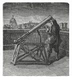 Vieux télescope avec une gravure d'antiquité de miroir illustration de vecteur