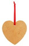 Vieux tagl de papier sous forme de coeur avec le ruban rouge Photographie stock libre de droits