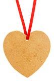 Vieux tagl de papier sous forme de coeur avec le ruban rouge Photo stock