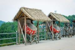 Vieux tambour avec la hutte de foin Photos libres de droits
