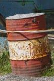 Vieux tambour de bidon abandonné Images libres de droits