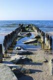 Vieux tapotements en bois Paysage de mer Images libres de droits