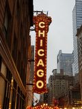 Vieux teatre de cin?ma de Chicago dans le centre ville photo libre de droits