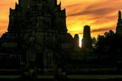 Vieux temple de Wat Chaiwatthana Ram The Photographie stock