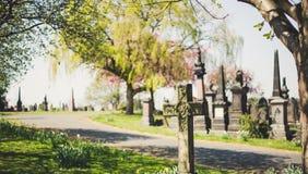 Vieux temps de cimetière au printemps photo libre de droits