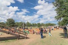 Vieux terrain de jeu en bois à la ferme rurale dans la vigne, le Texas, Etats-Unis photos stock