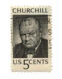 Vieux timbre-poste de cent des Etats-Unis cinq Image libre de droits