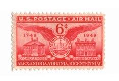 Vieux timbre-poste de cent des Etats-Unis six Photographie stock libre de droits