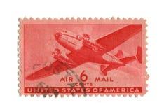 Vieux timbre-poste de cent des Etats-Unis six Photo stock