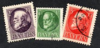 Vieux timbres allemands de la Bavière Photographie stock