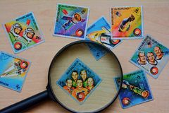 Vieux timbres-poste Image stock