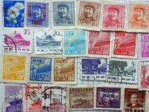 Vieux timbres-poste chinois Images libres de droits